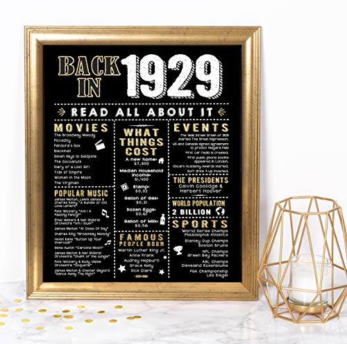 Katie Doodle 90th Birthday Party Supplies Decorations Gifts for Women Men | Includes 8x10 Back-in-1929 Sign [Unframed], BD090, Black/Gold