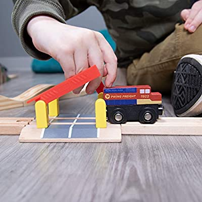 Train Track Crossings (2-Pack) | Wooden Railway Street Crossings with Plastic Safety Barriers | Expansion Pieces Compatible with Major Classic Toy Train Car Hobby Brands: Toys & Games