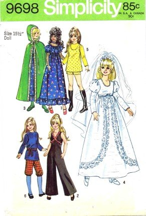 Simplicity 9698 Sewing Pattern 17 1/2 inch Crissy Velvet Kerry Mia Doll Clothes Wardrobe