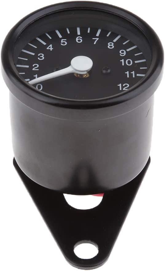 Homyl Motorrad Drehzahlmesser 12v Universal Motorrad Tachometer Meter Led Hintergrundbeleuchtung Schwarz Auto