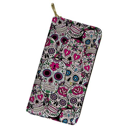 (Womens PU Leather Wallet Boho Long Clutch Sugar Skull Printed Zipper Purse Credit Card Holder for Gift)