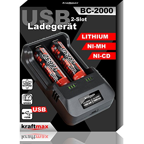 kraftmax BC-2000 USB Akku Ladegerät für 18650 | 26650 | 14500 | 16340 | CR123 | 3,7V Lithium und Mignon AA | Micro AAA…