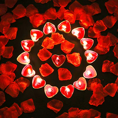 Tatuo 50 Pieces Heart Shape Candles Romantic Tealight Candles and 200 Pieces Silk Rose Petals Artificial Flower Petals for Valentine