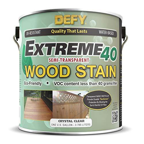 Defy Wood Finish - DEFY Extreme 40 Semi-Transparent Wood Deck Stain - Ultra Low VOC Formula, 1 Gallon - Crystal Clear