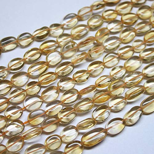 Beads Bazar Natural Beautiful jewellery 2 Strand Natural Gold Citrine Smooth Oval Gemstone Loose Craft Beads 13