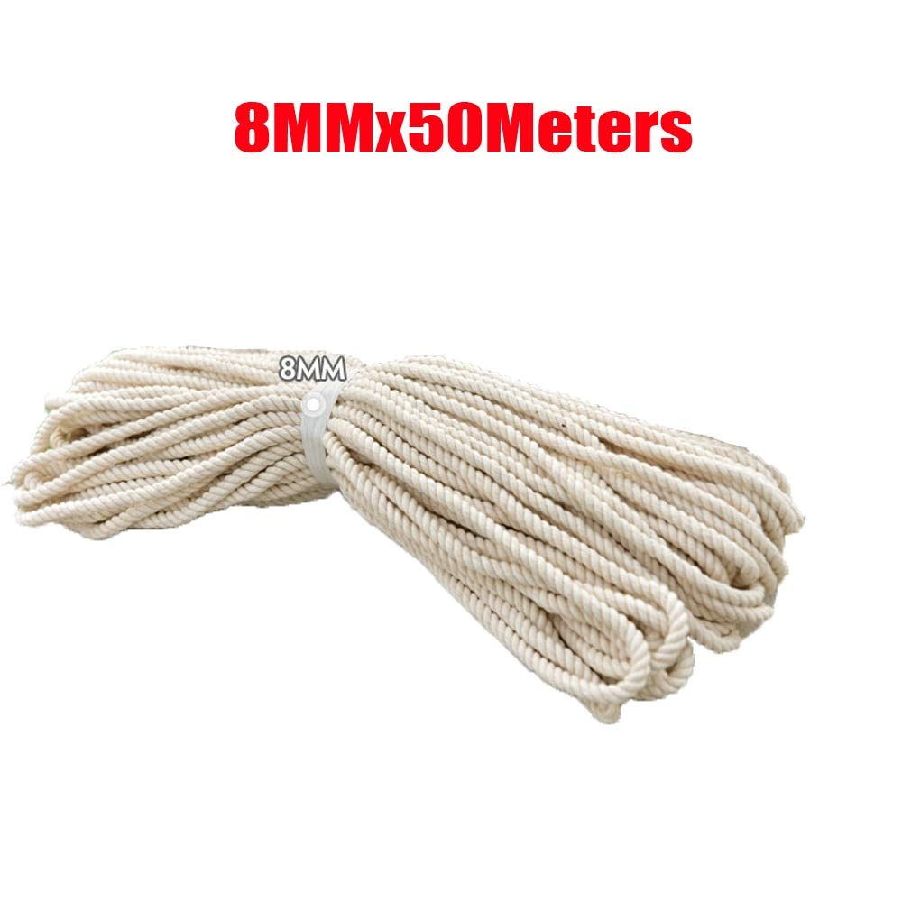 FINCOS Macrame Rope Natural Cotton DIY Craft Cord Spool 8mm x 50meters