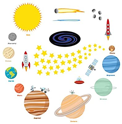 Educational Solar System Wall Decals for Kids Rooms - Peel and Stick Stars and Planets – Large Outer Space Wall Stickers by treepenguin
