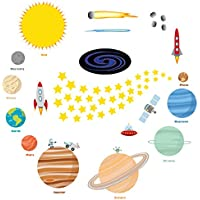 Kids Space Wall Decal Stickers: Large Removable Solar...