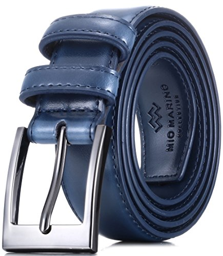 (Marino's Men Genuine Leather Dress Belt with Single Prong Buckle - Navy - 38 (Waist: 36))
