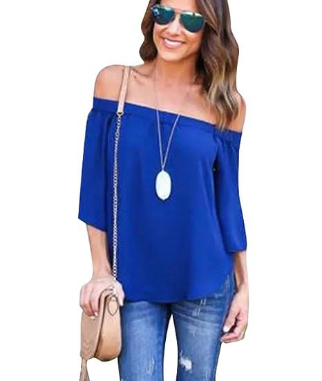ZhiYuanan Damas Blusa Camiseta Cuello Barco Mangas Largas Blusa Sin Hombros con Escote Remata Azul S
