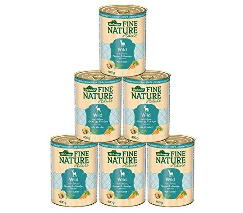 Dehner Fine Nature Hundefutter Adult, Lebensmittelqualität, Wild, 6 x 400 g (2.4 kg)