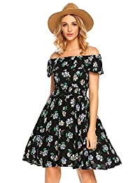 Meaneor Womens Summer Casual Floral Off Shoulder Ruffled A Line Swing Dress