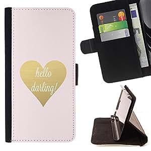- hello darling gold text heart valentines - - Prima caja de la PU billetera de cuero con ranuras para tarjetas, efectivo desmontable correa para l Funny HouseFOR LG Nexus 5 D820 D821