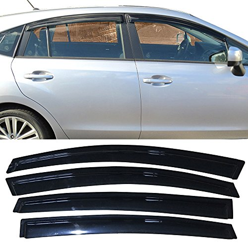 Window Visors Fits 2013-2017 Subaru XV Crosstrek and 2012-2016 Impreza Hatchback | OE Style Smoke Acrylic Sun Rain Shade Guard Wind Vent Air Deflector by IKON MOTORSPORTS | 2014 2015