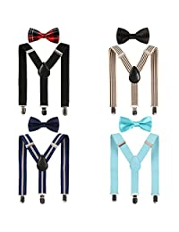 kilofly 4 Sets Boys Pre-tied Adjustable Neck Bow Ties + Elastic Suspenders Pack