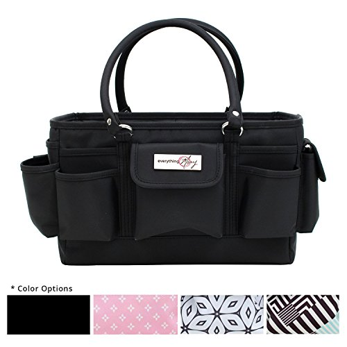 Everything Mary Black Deluxe Store and Tote - Storage Craft Bag Organizer for Crafts, Sewing, Paper, Art, Desk, Canvas, Supplies Storage Organization with Handles for Travel