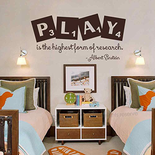 BATTOO Play is the highest form of research Playroom Wall Decal Einstein Vinyl Quote Nursery Inspirational Quote Vinyl Wall Art(Dark Brown, 22