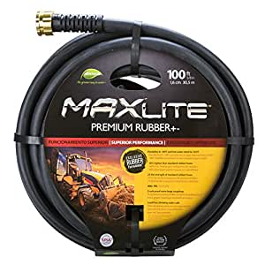 MAXLite Premium Rubber+ 100 ft Heavy Duty Water Hose with 5/8 diameter, Lead-Free and Drinking Water Safe