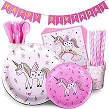 TRENDY BRANDY Unicorn Birthday Party Supplies Pink Children's Rainbow Party Supply Set with Bonus Happy Birthday Banner Serves 12 , 96 Pieces