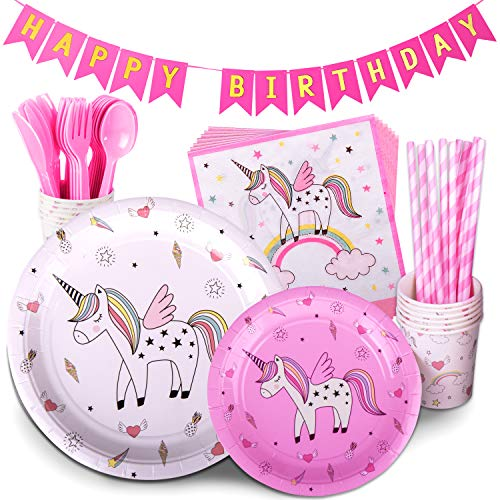 TRENDY BRANDY Unicorn Birthday Party Supplies Pink Children's Rainbow Party Supply Set with Bonus Happy Birthday Banner Serves 12 , 96 Pieces -