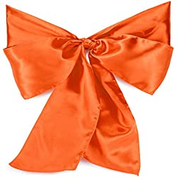 Lann's Linens - 100 Elegant Satin Wedding/Party Chair Cover Sashes/Bows - Ribbon Tie Back Sash - Orange