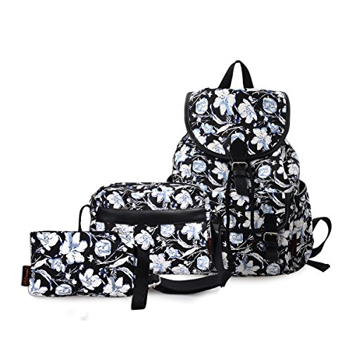 DGY Black Canvas Floral Printed Backpack 3 Pieces School Rucksack for Teen Girls 3Pcs ()