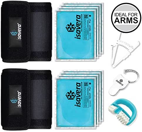Isavera Arm Fat Freezing System - Arm Fat Freezer and Shaper Wraps for Flabby Arms – Weight Loss Trainer Slimmer Sleeve – Fat Reducing Bands