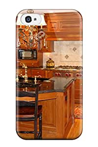 Special ZippyDoritEduard Skin Case Cover For Iphone 4/4s, Popular Kitchen Island With Black Sink And Countertop Twin Chandeliers And Brass Faucet Phone Case