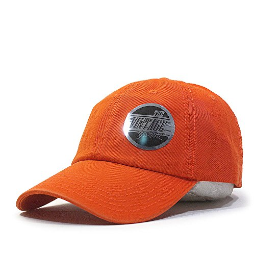 Vintage Year Classic Washed Cotton Twill Low Profile Adjustable Baseball Cap (Orange) (Beanie Twill Cotton)