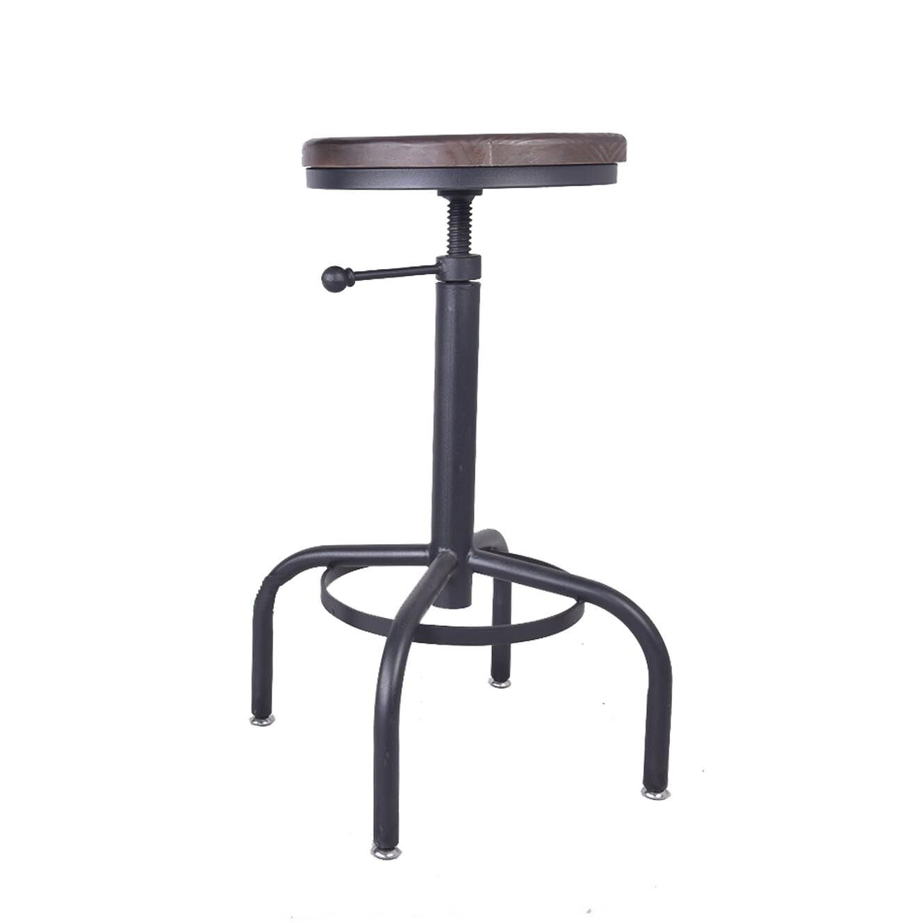 VINTAGELIVING Industrial Bar Stool Vintage Swivel Coffee Counter Chair Kitchen Dining Wood Seat Iron Frame Height Adjustable