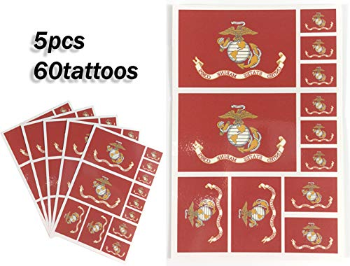 JBCD Marine Corps Temporary Tattoos 60 Pcs Military Stickers Waterproof Army Tattoos State Flags Tattoo Patriotic Face Tattoos, Suitable for Sports Event Parties and Pride
