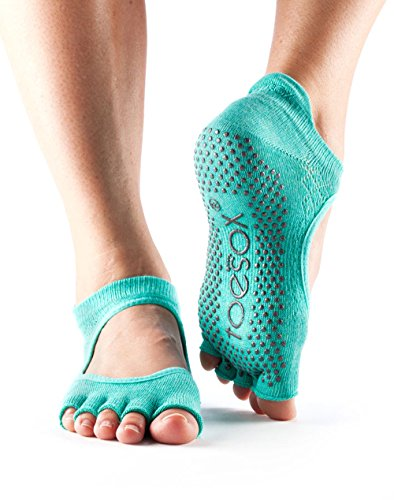 Toesox Lagoon For amp; Half non Donna Socks Barre Bellarina Ballet Toe Fishnet Calze Yoga Pilates Grip slip qfCaqr