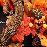 Fall Wreath for Front Door, 21'' Artificial
