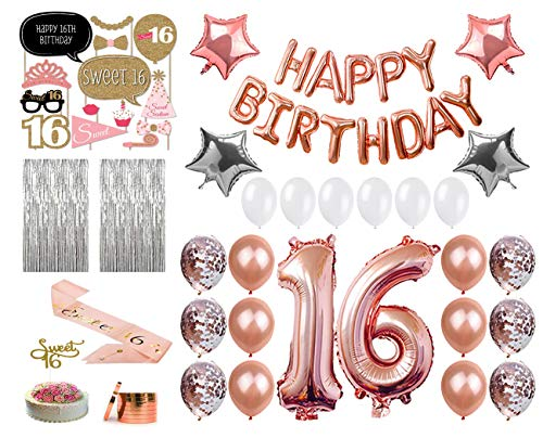 16th Birthday Decorations|Sweet 16 Birthday Party Supplies|Assorted Rose Gold Balloons|Sweet 16 Cake Topper Gold|Metallic Silver Curtain for Photo Booth and Props|Sweet 16 sash