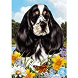 Best of Breed Summer Flowers Garden Flag – Tricolor Cocker Spaniel For Sale