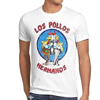 style3 Los Pollos Camiseta para hombre T-Shirt, Talla:S;Color:Blanco