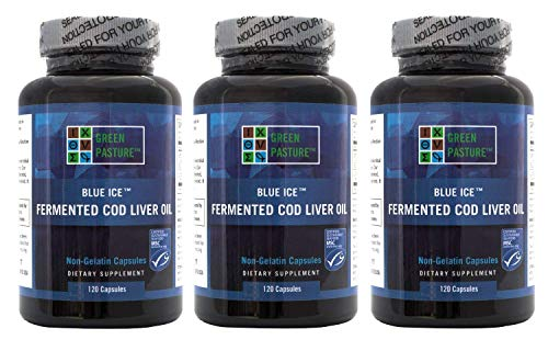 BLUE ICE Fermented Cod Liver Oil -Non-Gelatin Capsules (Pack of 3) ()