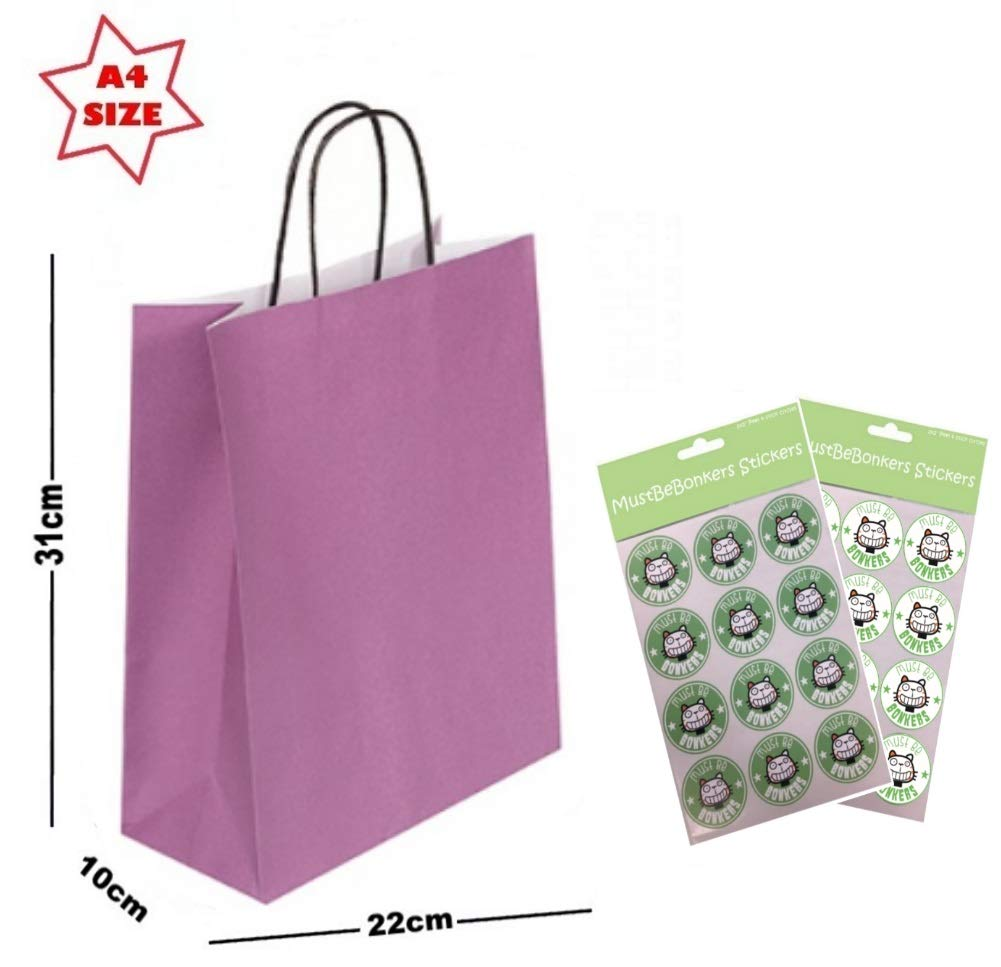 25 x A4 Paper Party Gift Bags ~ Boutique Shop Loot Carrier Bag ~ Choose Colour Lime Green