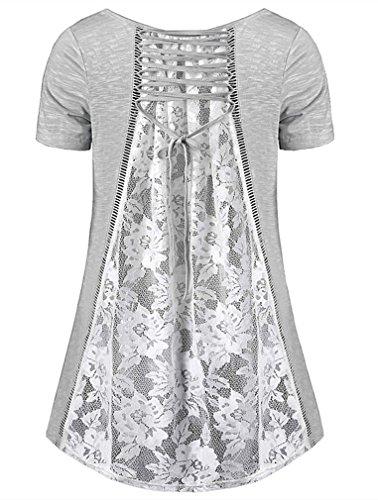 Femme Casual T Tops Blouse dentelle grande Uniquestyle Gris taille Manches lache longues Shirt RypKqwadB