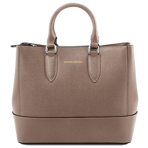 Tuscany Leather TL Bag Bolso a mano en piel Saffiano Marrón topo oscuro Bolsos con asas Marrón topo oscuro