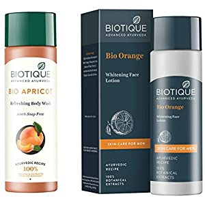Biotique Bio Apricot Refreshing Body Wash, 190ml And Biotique Bitter Orange Bio Orange Whitening Face Loton For Men…