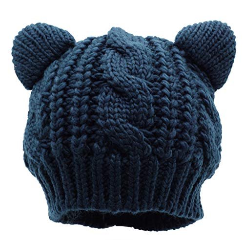 Bellady Kids Girls Cable Knit Children's Winter Hat Beanie with Cat Ear, Navy_Child