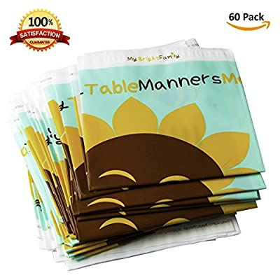 """Best Disposable Placemat for Baby - Toddler Educational Table Mats - 60 Individually Folded - BPA-free 100% Eco-Friendly Plastic - stick on Adhesive for newborn, infant or kid - (18"""" x 12"""")"""