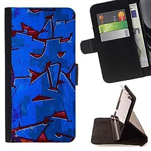 Momo Phone Case / Flip Funda de Cuero Case Cover - Pintura roja azul calle cuadrilla de la pared - Sony Xperia M2