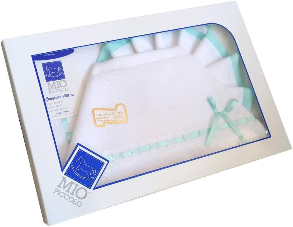 Juego de s/ábanas para cochecitos de beb/é con detalles en tejido Sangallo verde