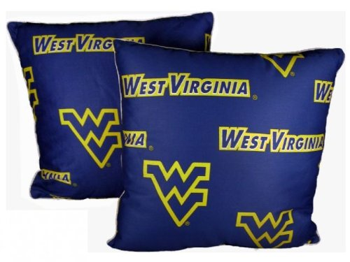 College Covers West Virginia Mountaineers Decorative Pillow, 16'' x 16'', Includes 2 Decorative Pillows