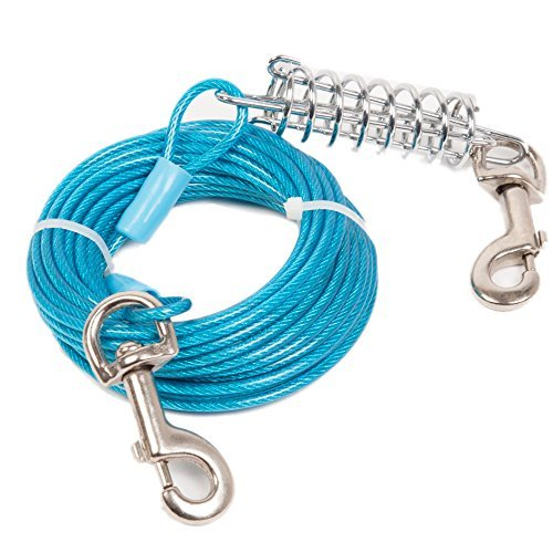 Heavy Duty Dog Trolley - Favorite Tie Out Cable for Dogs, 30-feet - Blue