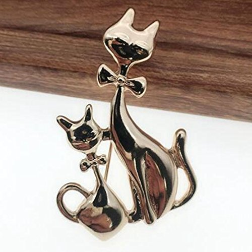 Modogirl Cute Bow Tie Cat Brooch Pins Holiday Gift Fashion Vintage Animal Safety Pin Corsage for Girls Women