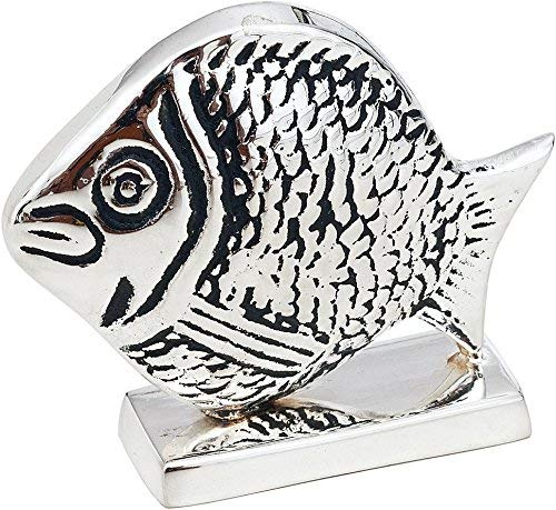 Cultural Intrigue Luna Bazaar Fish Place Card Holder (1.75-Inch, Silver Plated Solid Brass) - for Home Decor and Wedding Tabletops