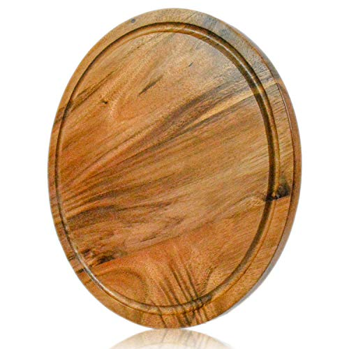 (roro Acacia Round Wood Trivet/Charger with Groove (13 Inch x 1, Acacia Brown))